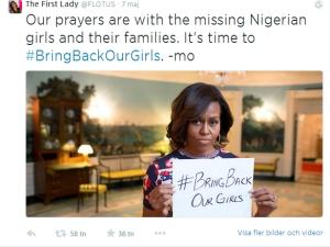 Michelle Obama Bring back our girls Bild: Skärmdump från Twitter