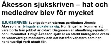 Åkesson sjukskriven - Skärmdump
