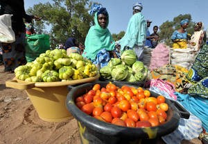 A woman selling vegetables in the Gambia, one of the countries honored by FAO for progress in fighting hunger