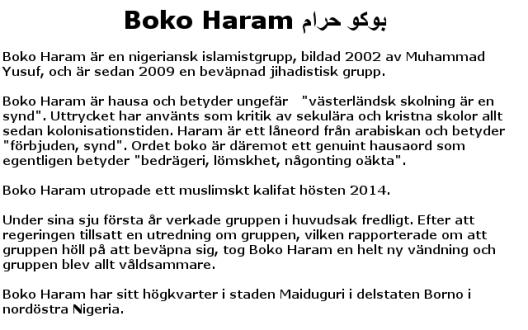 Faktaruta: Boko Haram