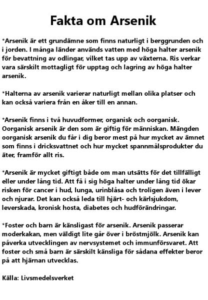 Faktaruta om arsenik från Livsmedelsverket