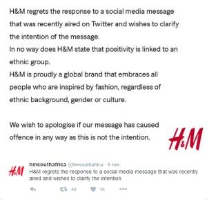 Skärmdump på H&M South Africas officiella uttalande efter den kritikerstorm de mötts av på Twitter och i flera av Sydafrikas medier