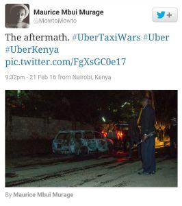 Den utbrunna bilen i Nairobi, Kenya - Skärmavbild, Twitter