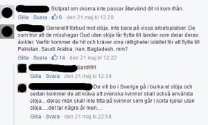 Maskerad skärmdump från kommentarer på GAPFs Facebook-sida