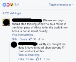 Några av de kommentarer som förekommit på Facebook om filmen