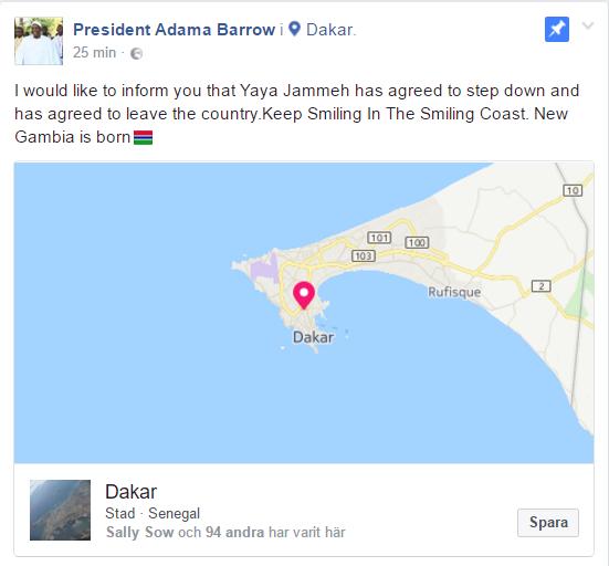 """Adama Barrow """"-Yahya Jammeh går med på att lämna landet"""""""