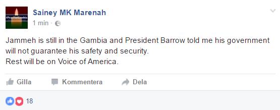 Jammeh kvar i Gambia, trots löften om att lämna